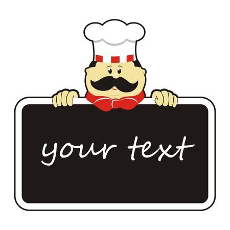 Chef-kok met bord Stock Illustratie