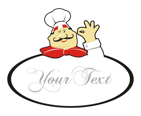 commercial kitchen: Happy chef doing okay gesture and text Illustration