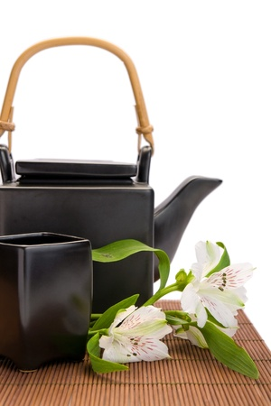 Asian teapot and cup close-up Stock Photo