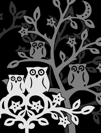 silhouette owls in black forest