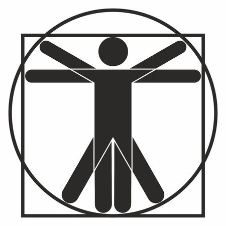 uomo vitruviano: Icona Uomo vitruviano Vettoriali