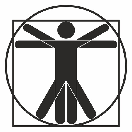 vitruvian man: Icono de hombre de Vitruvio Vectores