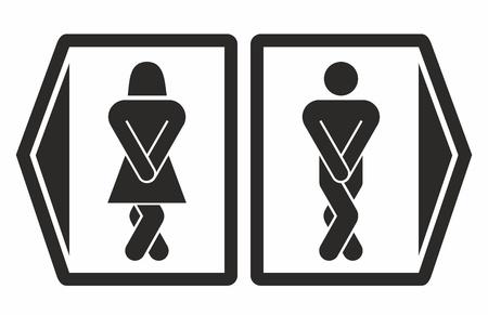 inodoro: Hombre y mujer los iconos de aseo