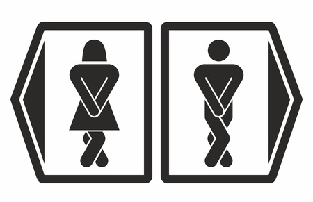 restroom sign: Man and women toilet icons