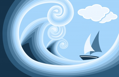 Waves and boat Vector