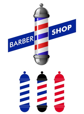 sign pole: Barber shop pole