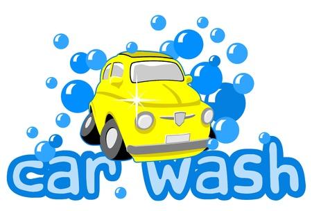 autolavaggio: Autolavaggio con bolle e testo