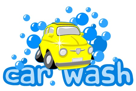 Car wash with bubbles and text Illustration