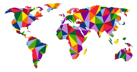 european maps: Colorful continents world map illustration