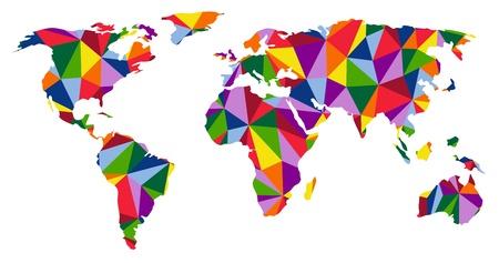 Kleurrijke continenten wereldkaart illustratie Stock Illustratie