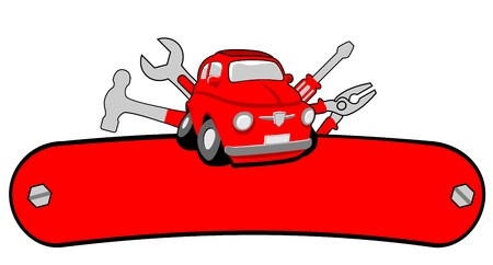 Garage car service with space for text Illustration