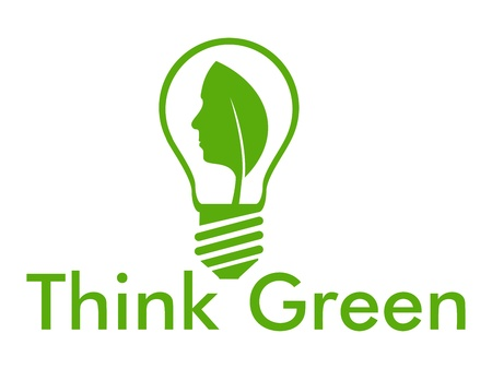 Think green with leaf and human face into a bulb