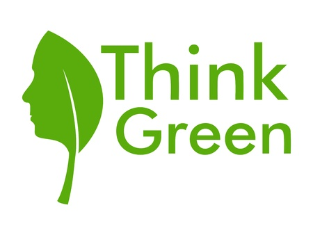 Think green with human face in leaf Illustration