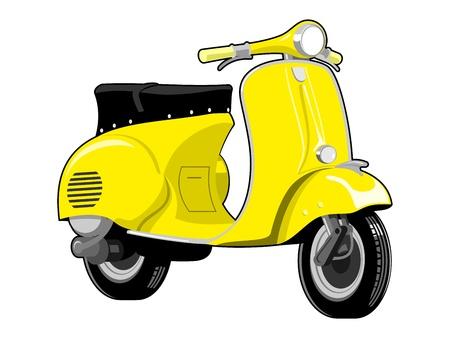 スクーター バイク ビンテージ  イラスト・ベクター素材