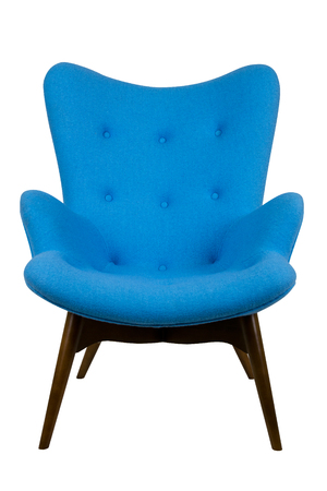 modern blue chair in scandinavian style