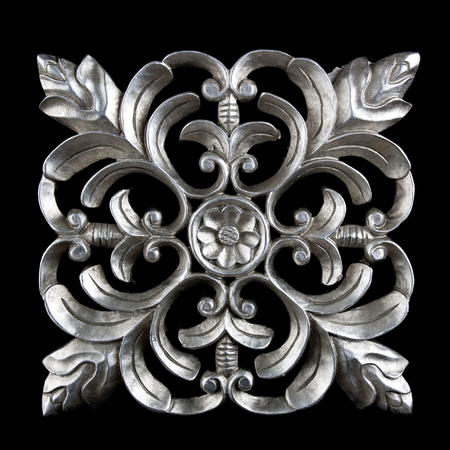 Decorative carving element in silver finish