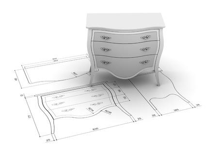 Furniture design illustration Standard-Bild