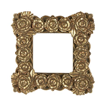 Golden vintage frame with flowers
