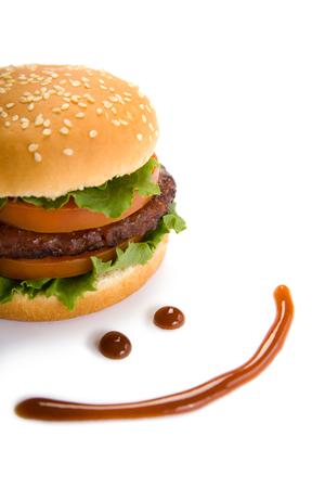 Ketchup happy face and hamburger Standard-Bild
