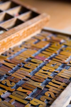 Old wooden printing types Standard-Bild