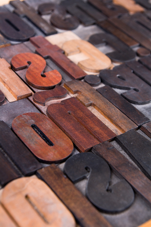 Old printing types close-up