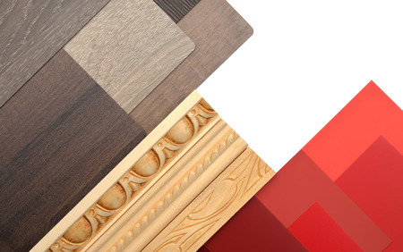 Interior design work table with moldings and color and wood samples