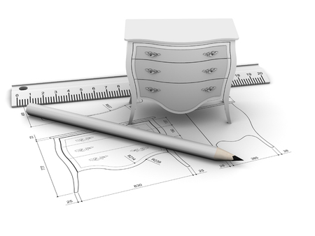 Furniture design with drawing and tools Standard-Bild