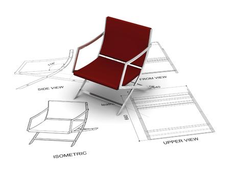도면과 빨간 의자 디자인