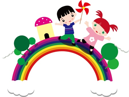 kids play in the rainbow Vector