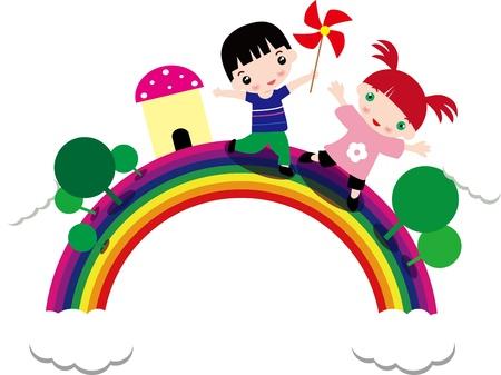 cartoon rainbow: los ni�os juegan en el arco iris Vectores
