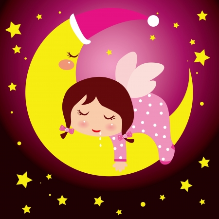 illustion of a little girl dreaming in the moon, beautiful background Vector