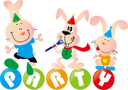 good time: illustration of a beautiful greeting card with three rabbits in party words Illustration