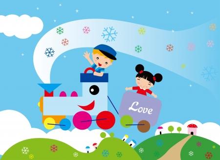 tren caricatura: Los niños disfrutan de los viajes sueño