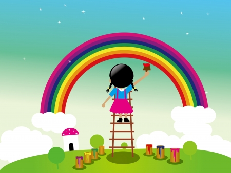Lovely girl is painting ranbow in the open There is blue sky white cloud and the green grass