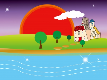 Quiet village under sunset Stock Vector - 15754581