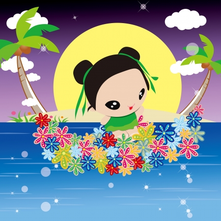 Angel playing in the sea by flowers boat , Mid-Autumn Festival illustration Vector