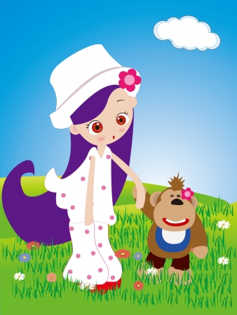 boy long hair: Little girl and monkey walk in the park Illustration