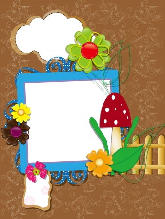 Baby scrapbook for the fence, flowers and mushrooms