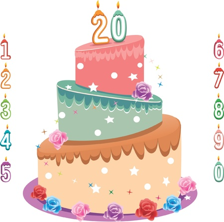 caterer: three layers of birthday cake, layer color in the file can be edit