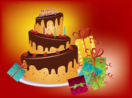 birthday cake and gife Vector