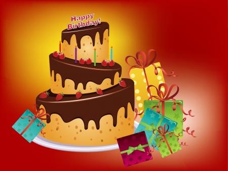 decoracion de pasteles: torta de cumpleaños y gife Vectores
