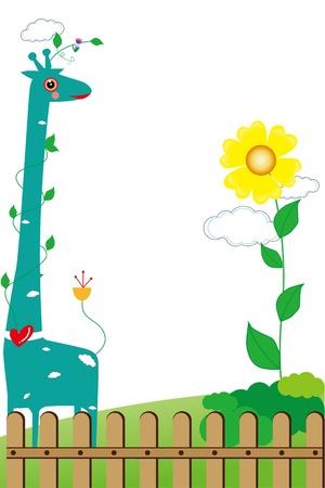children s: Children s photo framework with giraffe and flowers