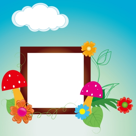 Baby scrapbook for the fence, flowers and mushrooms Stock Vector - 15754483