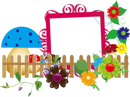 Baby scrapbook 6  for the fence, flowers and mushrooms Vector