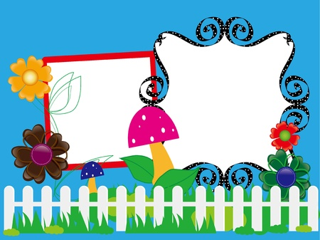 Baby scrapbook 9  for the fence, flowers and mushrooms Vector