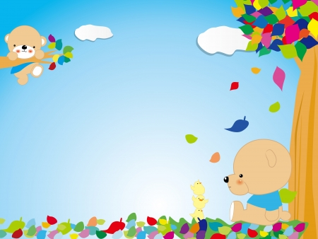 A coloured funny frame with bear and tree Vector