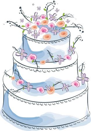 cartoon cake: wedding cake
