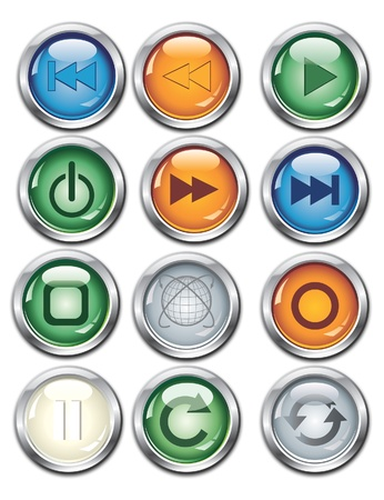 glowing button set Stock Vector - 15860357