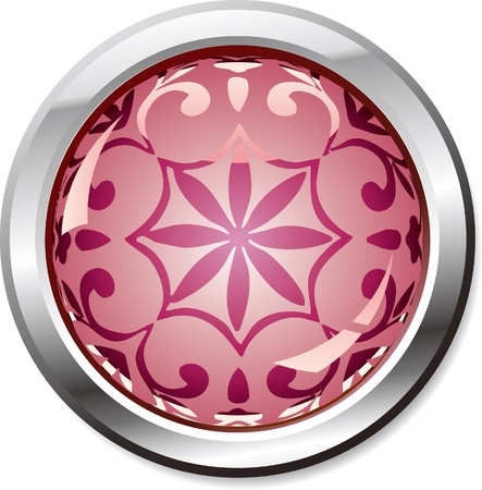 purple shiny button-with a retro pattern