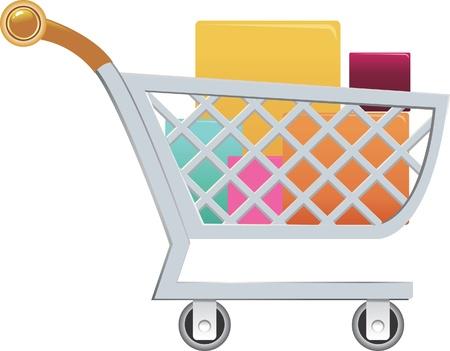 carrinho: carrinho de compras e caixa de presente